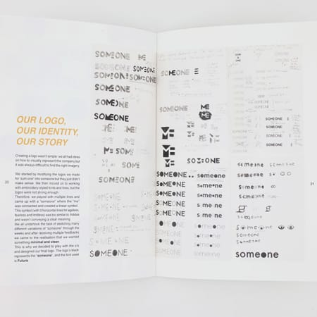 Double page spread in a magazine, showing a range of logo design options for the word/brand 'Someone'