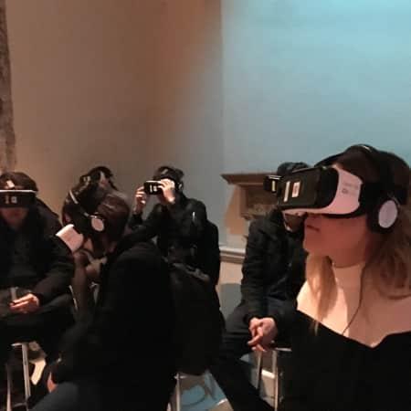 Students visit Björk Somerset House exhibition.