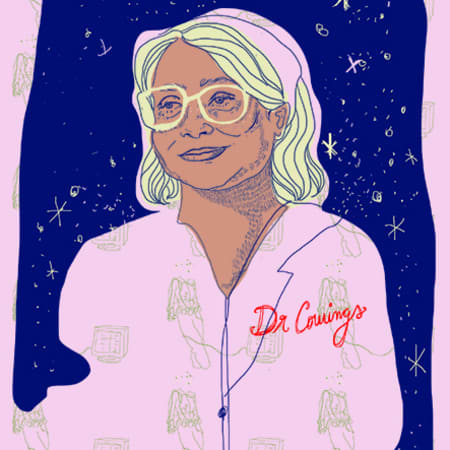 Illustration of Patricia Cowings – a smiling woman wearing a light pink jacket, yellow glasses. The background is a dark blue night sky with yellow stars.