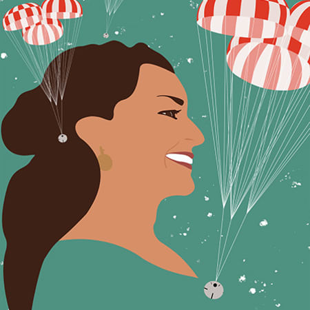 Illustration of Anita Sengupta - the profile of a smiling woman with long brown hair in an emerald green background filled with red and white parachutes.