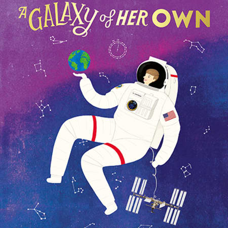 Book cover design by Rosie Chomet, showing an illustration of a female astronaut in a white spacesuit, floating in a purple night sky.