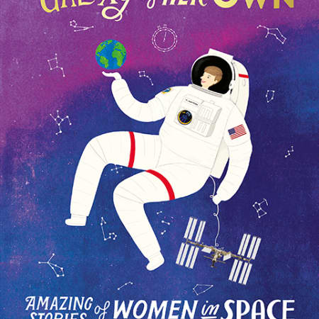 Illustration of a women astronaut in a spacesuit, floating in a purple night sky and balancing the Earth on her palm.