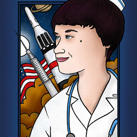 Illustration of Dee O'Hara – the profile of a woman with short black hair, in a medics uniform. In the background is an American glad, a spaceship, a syringe and the night sky.