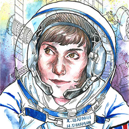 Illustration of Helen Sharman – a woman wearing a space helmet and a spacesuit with an American flag on the sleeve.