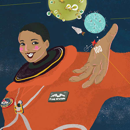 Illustration of Mae Jemison – a woman in an orange spacesuit with her palm upturned and balancing two circles representing the world