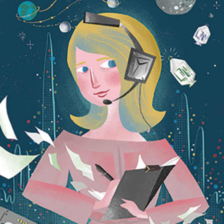 Illustration of Poppy Northcutt: showing a woman wearing a pink dress and holding a clipboard and a headset. In the background are screens, flying pieces of papers and rockets in space.