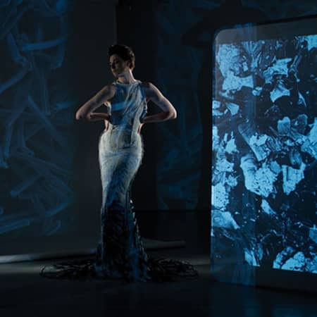 Erin O'Connor wears the catalytic clothing dress