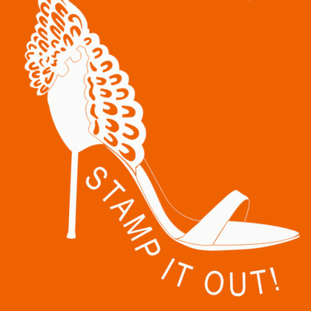 Orange graphic of a shoe saying 'stamp it out'