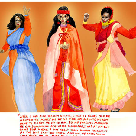 Illustration of women in traditional Indian dress.
