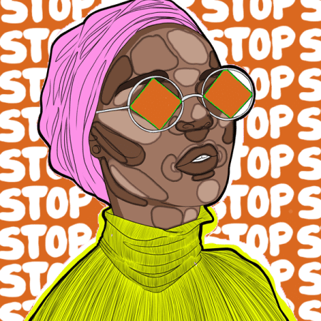 illustration of woman in headscarf with 'stop' graffitied behind her.