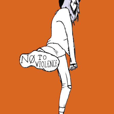 Orange graphic with girl kicking by Esmee Joinson-Evans, Falmouth University.