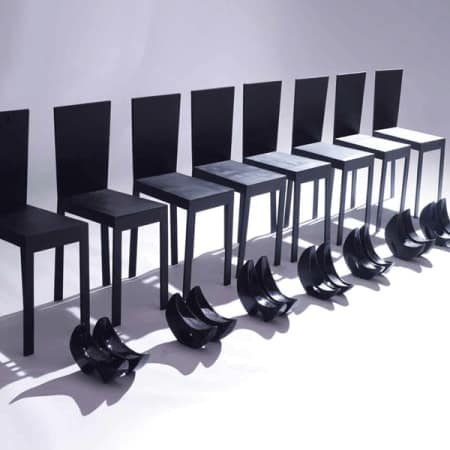 Chairs and shoes in a row
