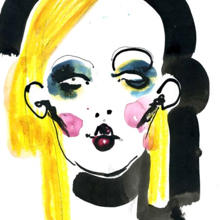 Sketch of woman with blonde hair and large earrings
