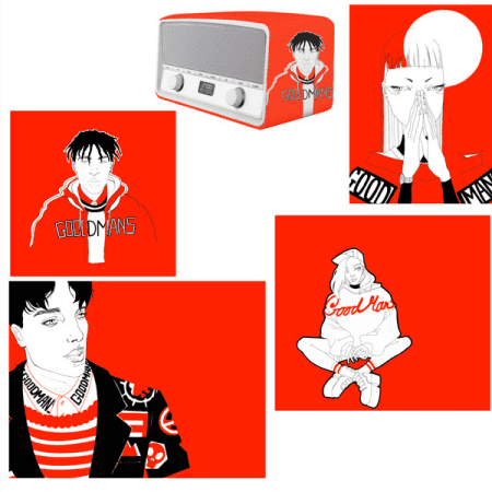 Red, black and white sketches