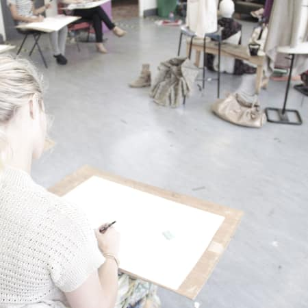 Image of students in fashion drawing short course