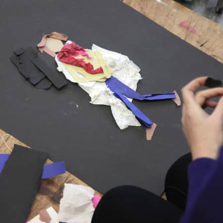 Image of students work in fashion drawing short course