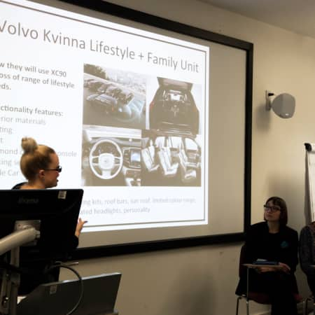 Students present to Volvo