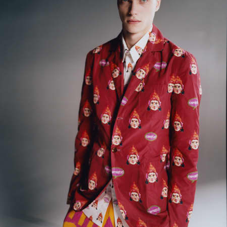 male model in red blazer