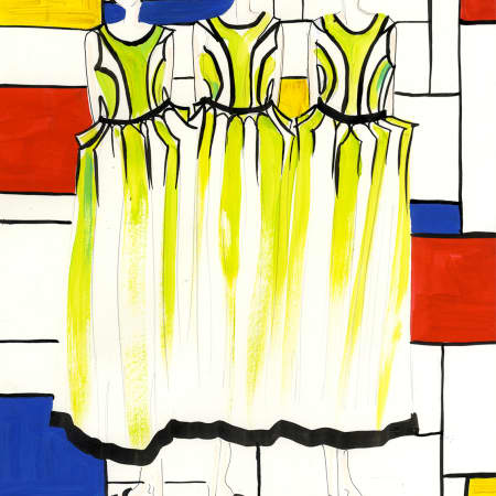Illustration of three women wearing a matching panelled dress.