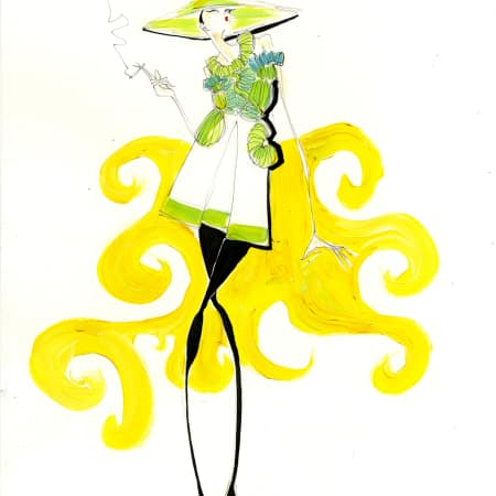 An illustration of a white an green ruffled dress with a wide green hat