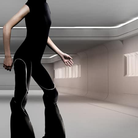 CGI style model against CGI backdrop with synthetic legs.