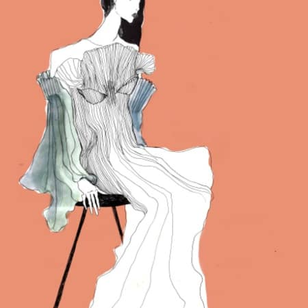 An illustration of a woman sitting in a pleated gown