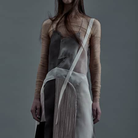Female mofel in a layered semi sheer dress