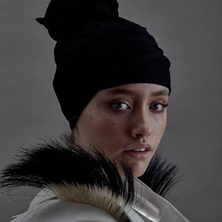 Female model in hat