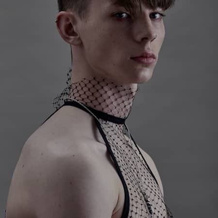 Male model in kneck and bra combination
