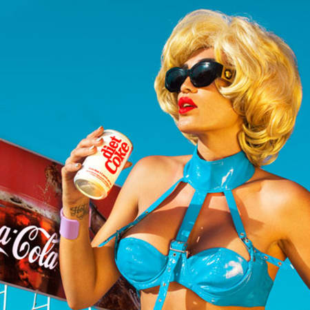 Image by Nadia Lee Cohen of girl drinking coca cola can.