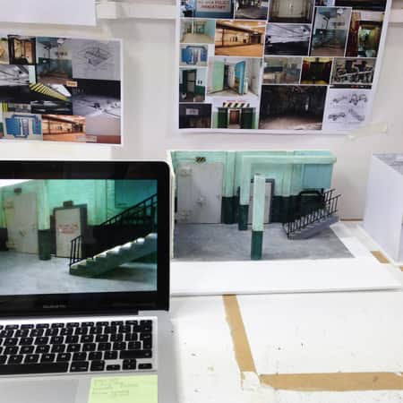 Storyboards and models - BA Production Arts for Screen.