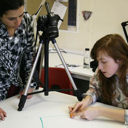 Students working on film project - BA Production Arts for Screen.