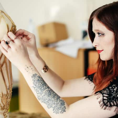 Image of  Céline Marie Wenniger working in on a mannequin