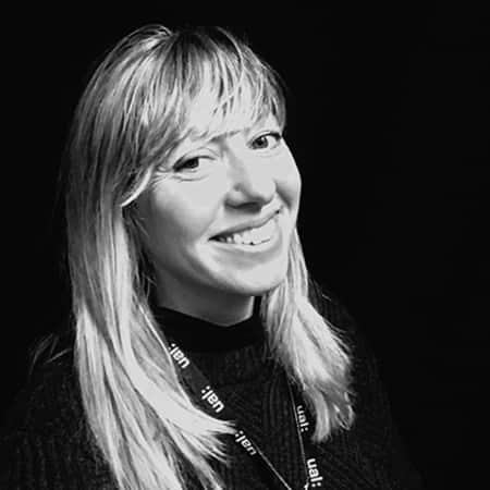 Black and white photograph of Victoria Ahrens, Senior Lecturer for Graduate Diploma Photography.