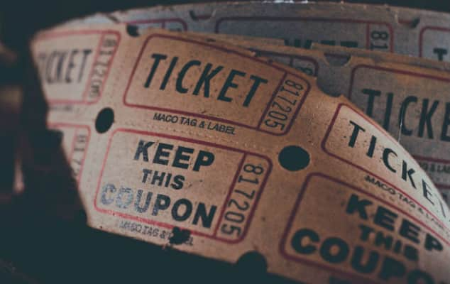 A reel of admission tickets