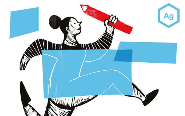 An illustration showing a woman running holding a pencil.