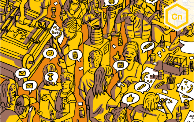 An illustration of people talking in a bar.