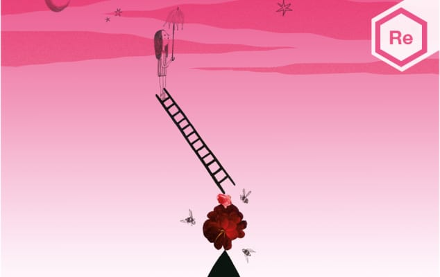An illustration showing a girl standing on a ladder holding an umbrella.