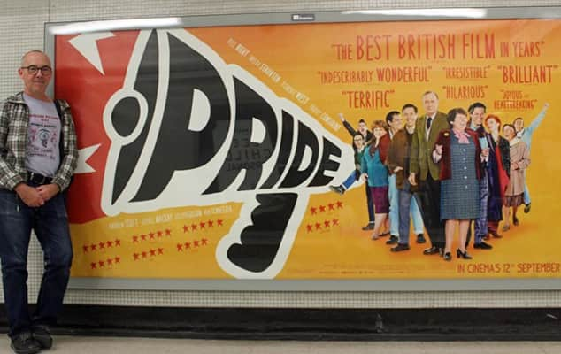 Mike Jackson in front of Pride film poster