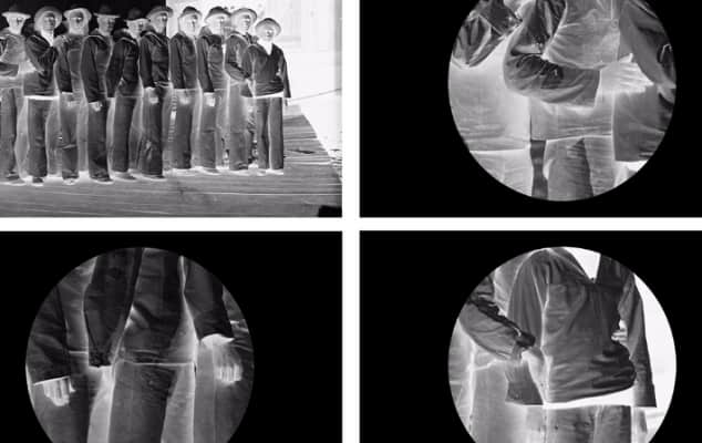 Four photographic images in negative, one shows people stood in a line and the other three images show close up of elements of the people in the photos.