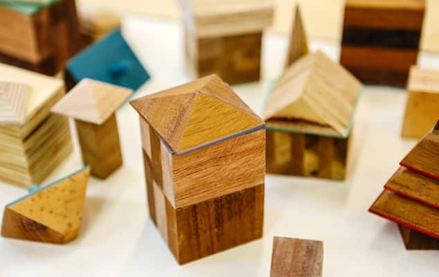 Image of a town made from wooden blocks