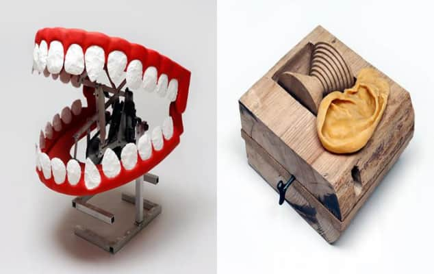 A mechanical set of teeth and a music box