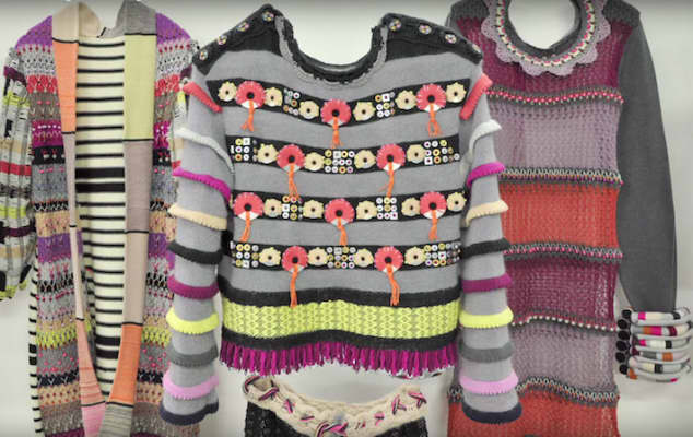 Image of three pieces of colourful knitwear