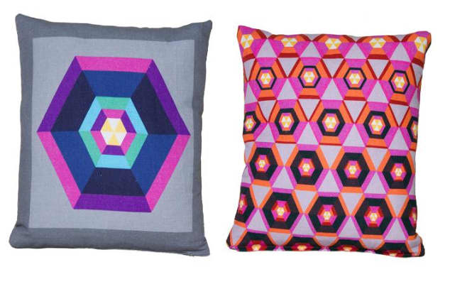 Image of two brightly coloured cushion covers