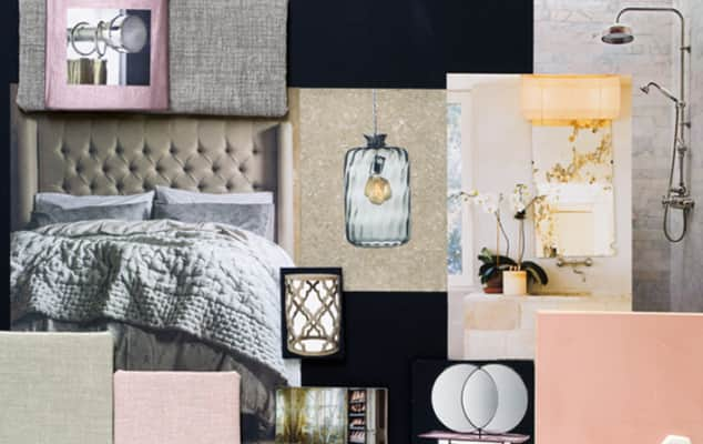 Sample board for the design of a boutique hotel room.