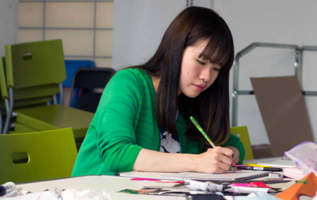 A student working on a project during a professional development course