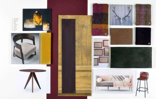 An example of an interior designers sample board made on a chelsea college of arts short course.
