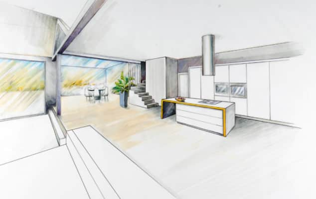 Drawing of a kitchen made during Freehand Perspective Drawing for Designers.