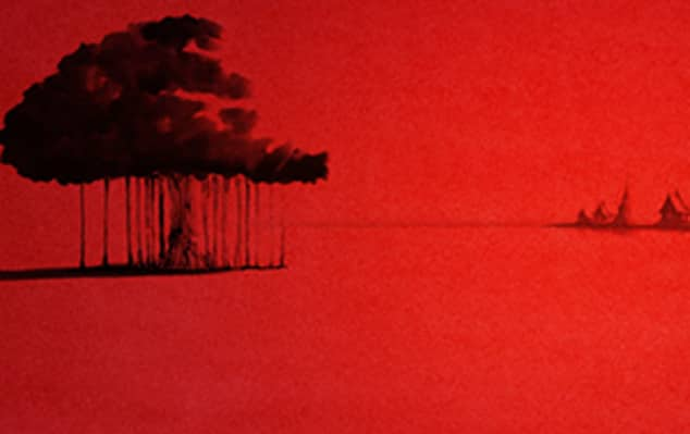 Red landscape with an illustrated tree done in black ink