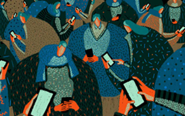 Cropped image of a still from an animation depicting lots of characters using mobile phones.